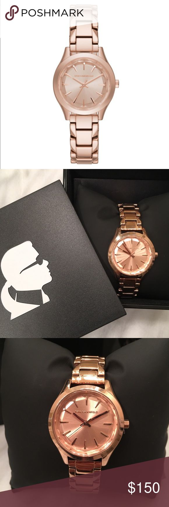 Karl Lagerfeld Rose Gold Watch Beautiful rose gold Karl Lagerfeld watch. It is new with tags and has never been worn; retails for $225! The face still has the protective plastic- will also ship with the box and instruction booklet. Karl Lagerfeld Accessories Watches
