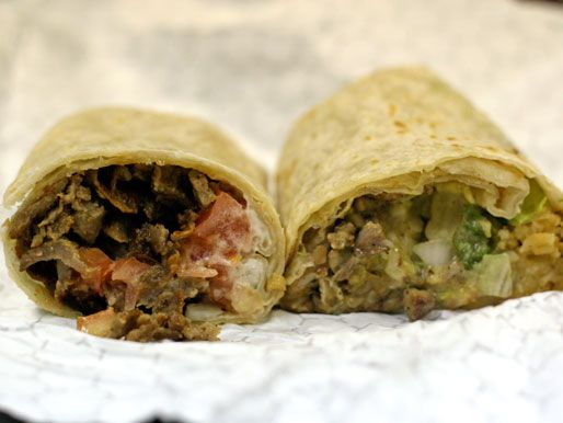 Since the restaurant is called Burrito Buggy, they have to serve burritos, right? The fine specimen on the left is the Gyro Burrito ($5.98). Yes, you read that correctly. That is a burrito stuffed with Kronos gyro meat, tomatoes, onions, and tzatziki sauce.