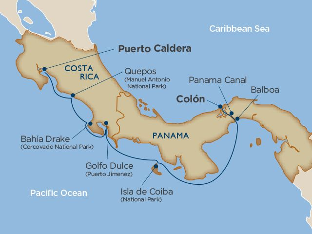 Panama Canal and Costa Rica Cruise Map
