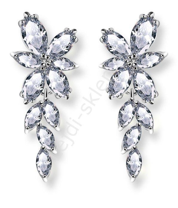Crystal earrings. Evening jewelry. Kryształkowe wiszące kolczyki kwiatki z łezkami, pozłacane białym złotem