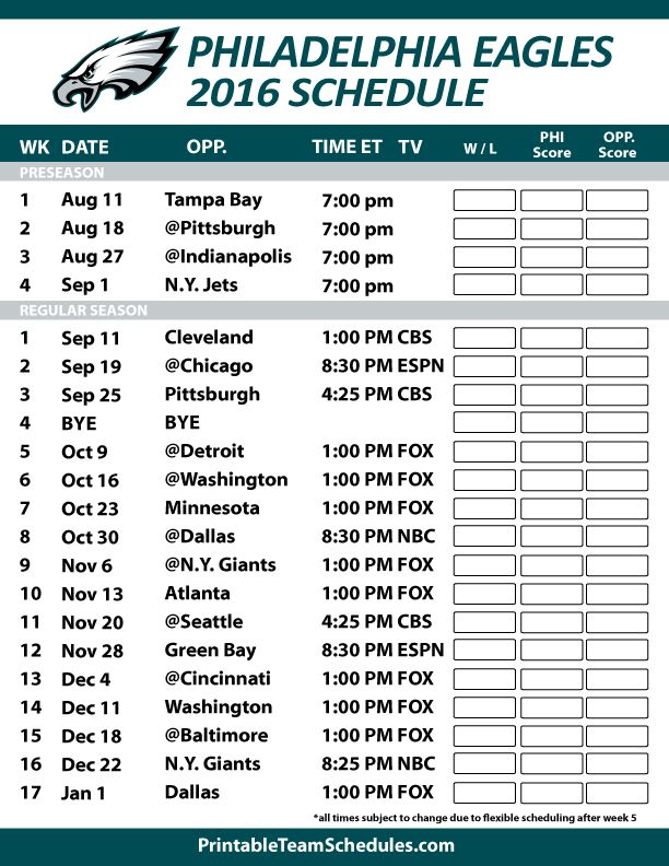 Philadelphia Eagles 2016 Football Schedule. Print Schedule Here - http://printableteamschedules.com/NFL/philadelphiaeaglesschedule.php