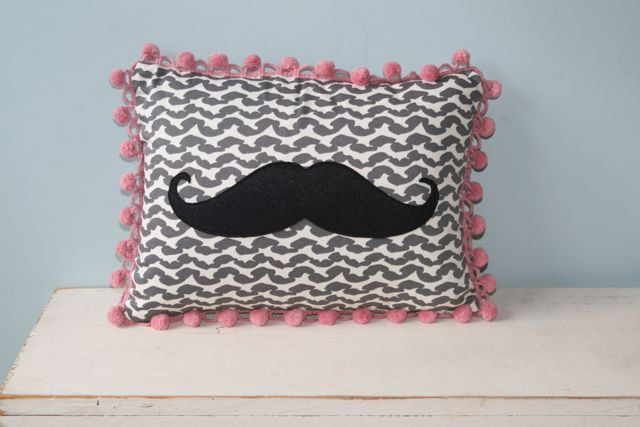 Marvelous Mustache Pillow with Fabulous Fringe