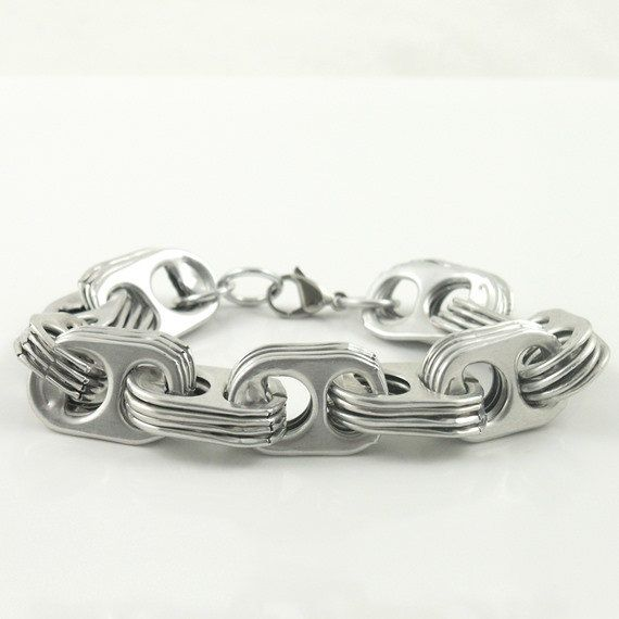 soda tab bracelet , wrist size 6, 6 3/4 or 7 1/2 inch, crosslink pop tab bracelet, metal bracelet, upcycled bracelet, recycled bracelet