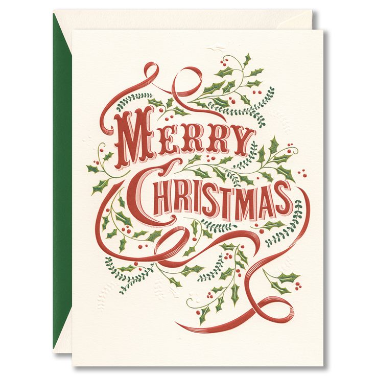 A card with all the trimmings, this holiday greeting is perfectly adorned with a swirl of ribbon, a sprinkling of holly and a message most sincere.