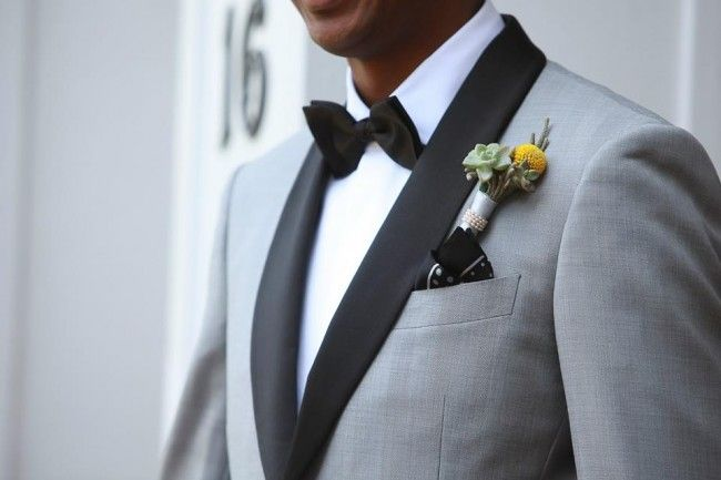 custom grey tuxedo with black shawl collar.. I absolutely love this.. set the groom apart from the groomsmen