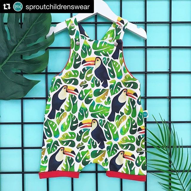 I adore this tropical romper made by the lovely Sprout Childrensweat using my Watercolor toucans design! 💚🌴 I've just received my order and I'm so happy, it's beautifully done! Thank you @sproutchildrenswear ! 😻