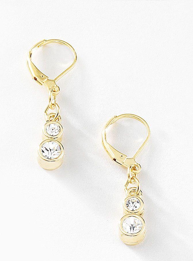 Par de aretes con piedras de cristal elaborados en 4 baños de oro de 18 kt. Modelo 415211.