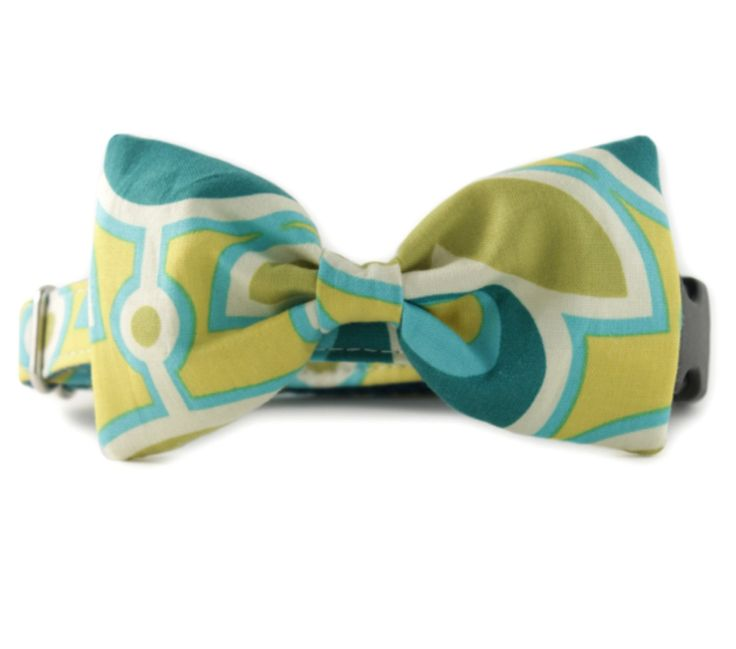 Bow Tie Dog Collar - Green and Yellow Bow Tie Dog Collar - Green Bloom Bow Tie Dog Collar - Teal Bow Tie Dog Collar - teal and flower bowtie