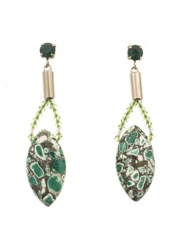 Handmade antique metal plated earrings with green Swarovski strasses, beads and glass stone, by Art Wear Dimitriadis
