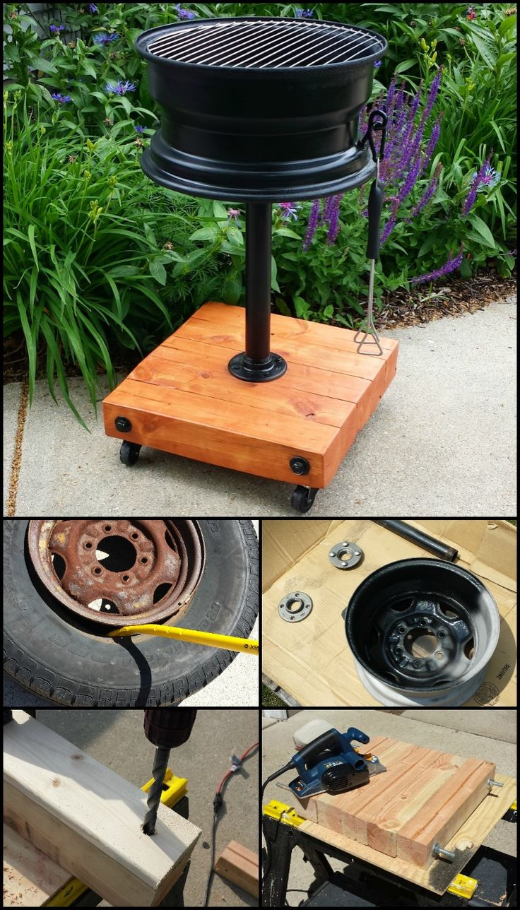 No-Weld Tire Rim Grill  There are several examples of tire rim grills out there, but this is one of the more elegant versions you will see. And what's great is that it is also a really easy DIY project. You can definitely do this yourself regardless of your skill level.  Learn how to make this DIY tire rim grill by heading over to our site at  diyprojects.ideas...