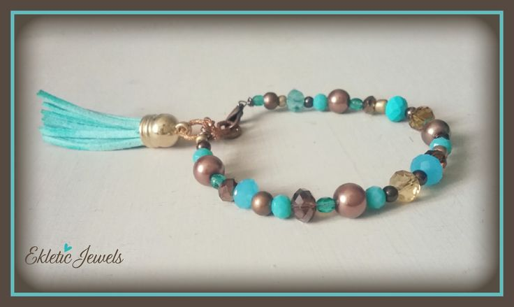 Boho bracelet with crystals beads and tassels - aqua and bronze