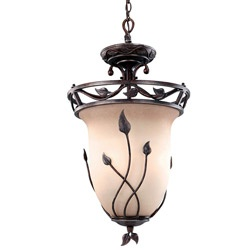 @Overstock - Setting: Indoor Fixture finish: Equilux umber Shades: Tea-stained glass http://www.overstock.com/Home-Garden/Transitional-Leaf-Design-3-light-Semi-flush-mount-Pendant/6191067/product.html?CID=214117 $108.09