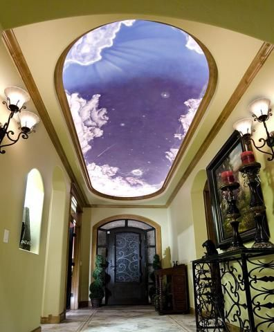 Beautiful Foyer Painted Mural On Dome Ceiling Dome
