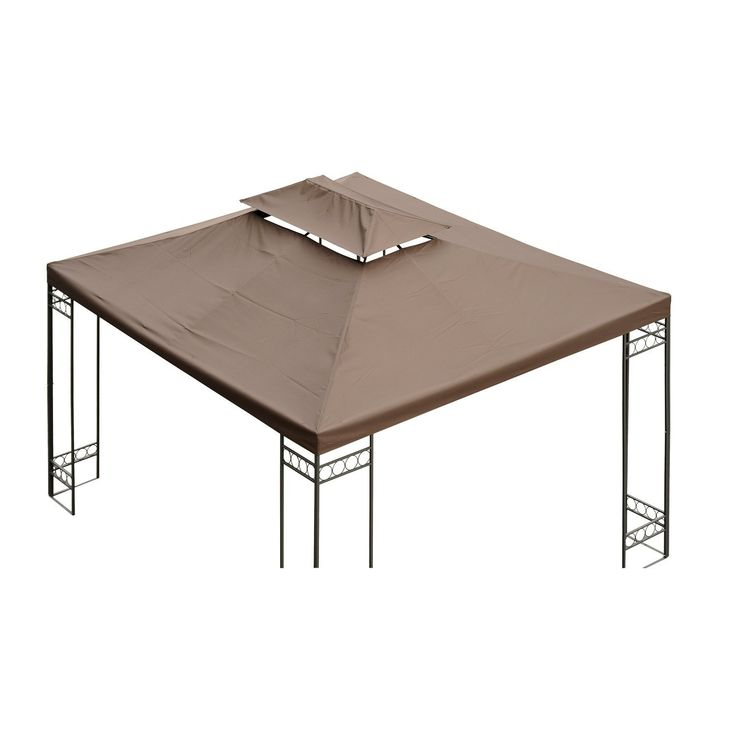 Outsunny 3 x 4m Gazebo Canopy Roof Top Replacement Pavilion Tent Spare Part 2 Tier Brown -- For more information, visit image link. #GardenFurnitureandAccessories