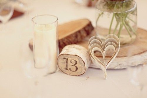 table markers. love the heart.