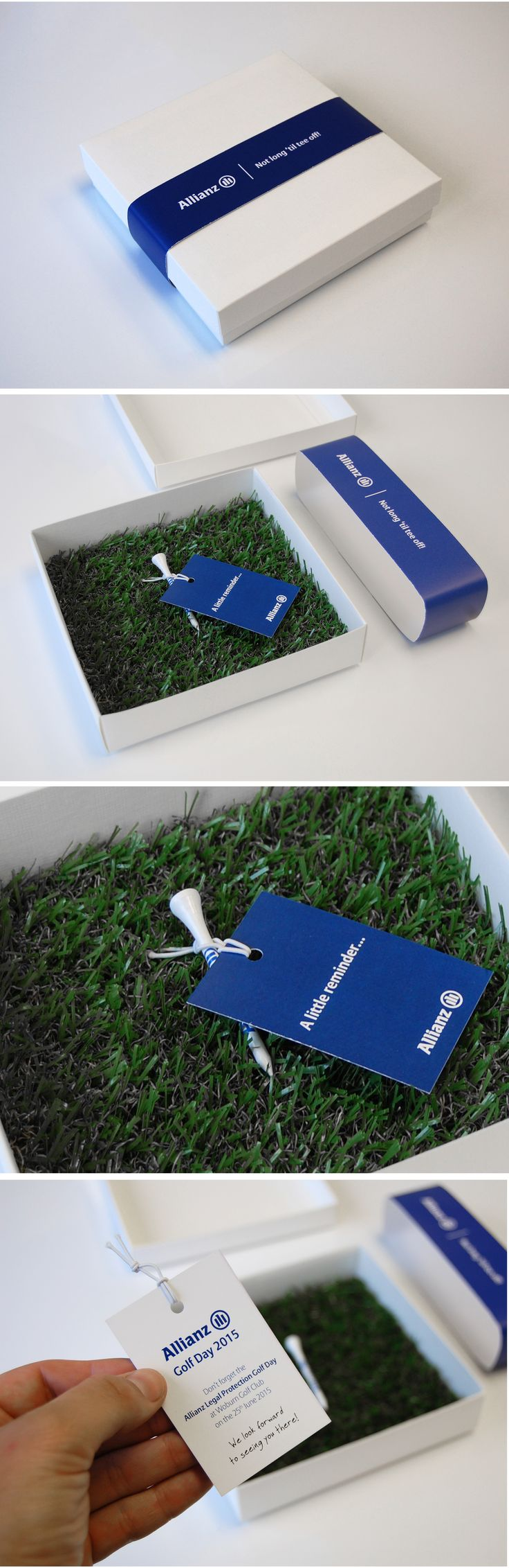Allianz's Annual Corporate Golf Day 2015  Custom invitation including bespoke box, artificial turf, belly band and tee with invitation tag attached.
