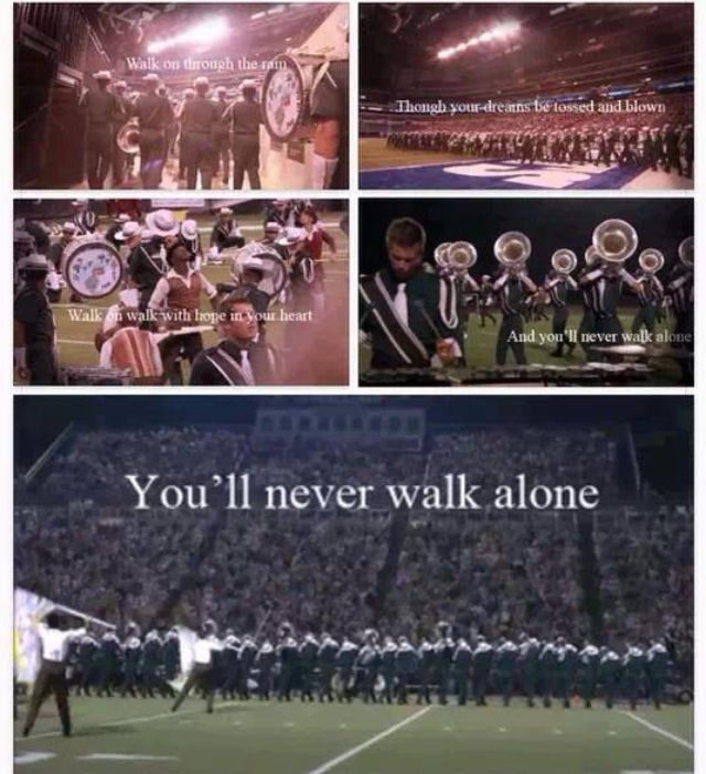 This is on the back of one our tshirts. Once a Marching Saluki, always a Marching Saluki. We seriously need to remake this photo collage for the Marching Salukis. :)