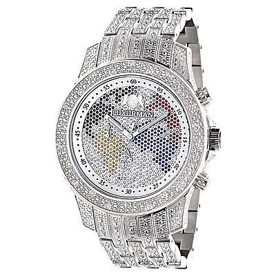World Map Iced Out Luxurman Mens Diamond Watch 1.25ct Raptor