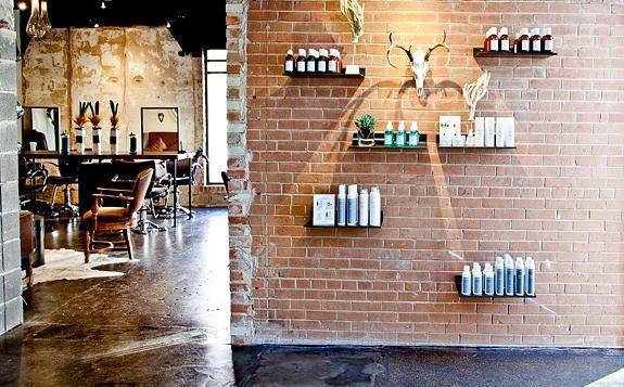 SALON DESIGN  |  hair by charlie, dallas Like the floating shelves for retail display....