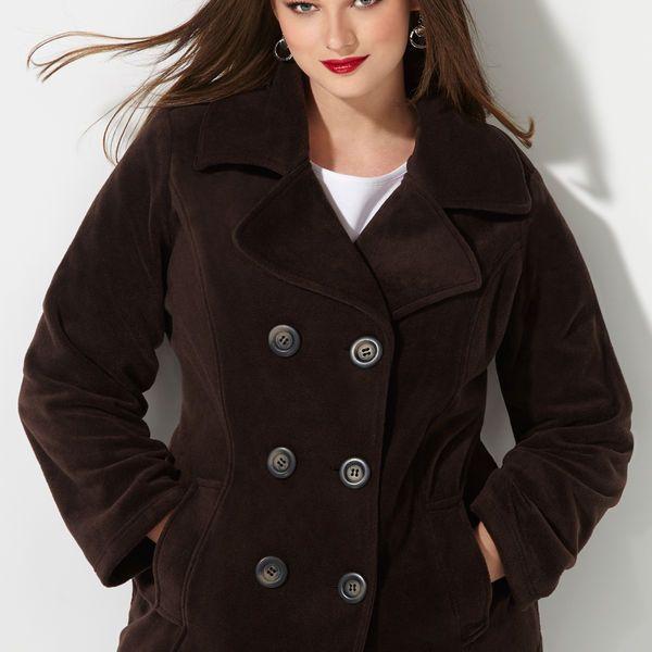 Double Breasted Fleece Peacoat-Plus Size Peacoats-Avenue