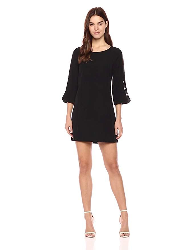 8fe532bdd05 Laundry by Shelli Segal Women s Crepe Shift Dress with Pearl Sleeve Detail