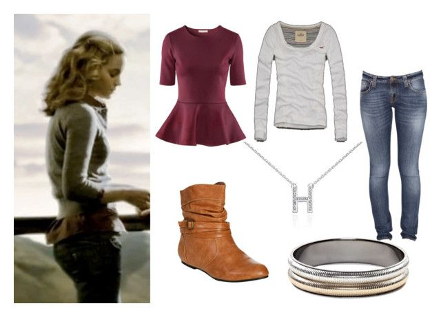 """""""Hermione Granger Half Blood Prince (Outfit 6)"""" by yellowheads ❤ liked on Polyvore featuring Hollister Co., H&M, Nudie Jeans Co., Wet Seal, Blue Nile, MNG by Mango, half blood prince, emma watson, hermione granger and harry potter"""