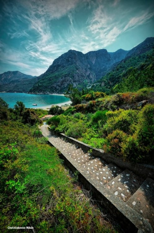 Want to go here, wish I was here now. steps leading to pure beauty, Samos, Greece