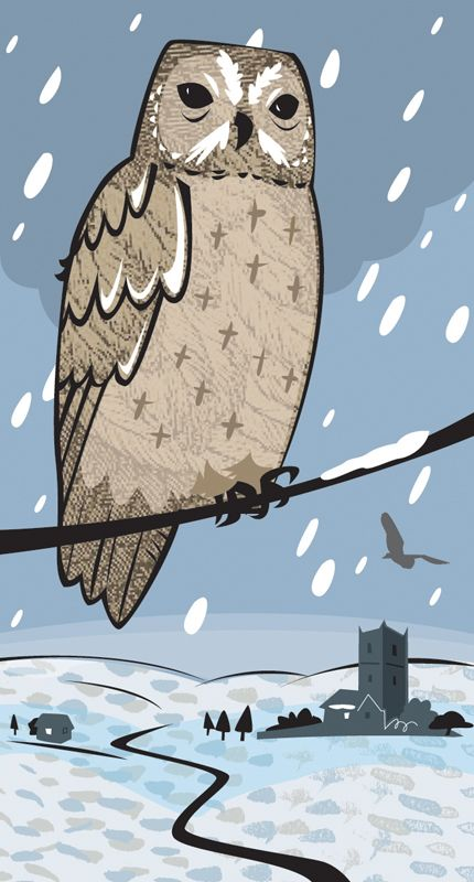 #joannakerr #newdivision #illustration #flatgraphic #line  #decorative #owl #snow #landscape #winter