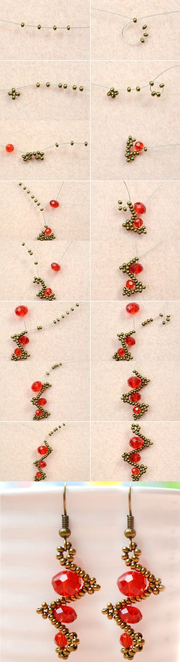 Tutorial on How to Make Simple Twist Red Bead Earrings from LC.Pandahall.com