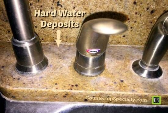 How to remove hard water stains around kitchen faucet granite countertops. ..