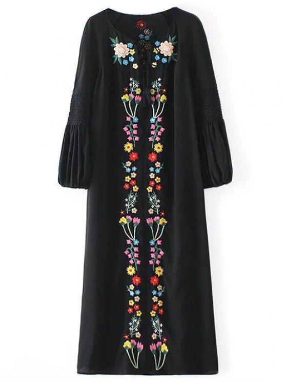 Floral Embroidered Tunic Midi Dress - BLACK M