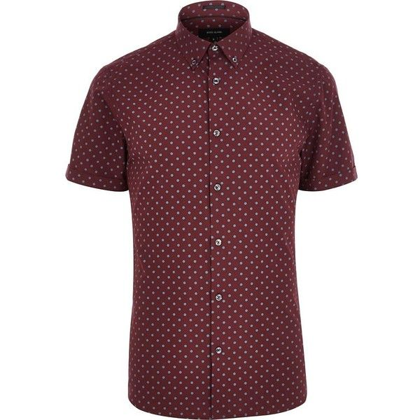River Island Red spotty short sleeve shirt ($13) ❤ liked on Polyvore featuring men's fashion, men's clothing, men's shirts, men's casual shirts, sale, mens casual short-sleeve button-down shirts, mens long sleeve casual shirts, mens red polka dot shirt and mens button front shirts