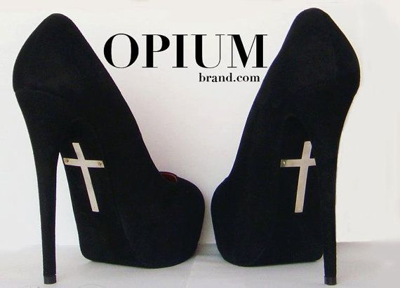 Goth:  #Goth heels, by OPIUMBrand.  If I was ever required to wear  5+ inch heels.. these would be it.