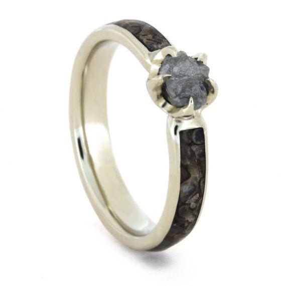 Raw Diamond Ring, Dinosaur Bone Ring in 14k White Gold, Unique Fossil Jewelry