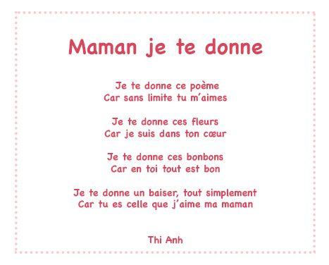 Maman Je Te Donne Un Poème Pour Maman Avec Tête à Modeler