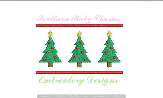 Christmas Tree Trees Row Three Trio Pine Design File For Embroidery M Embroidery Machine Monogram Christmas Tree Embroidery Design Christmas Embroidery Designs