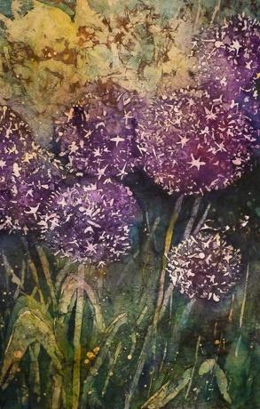 Allium - Watercolor Batik on Rice Paper