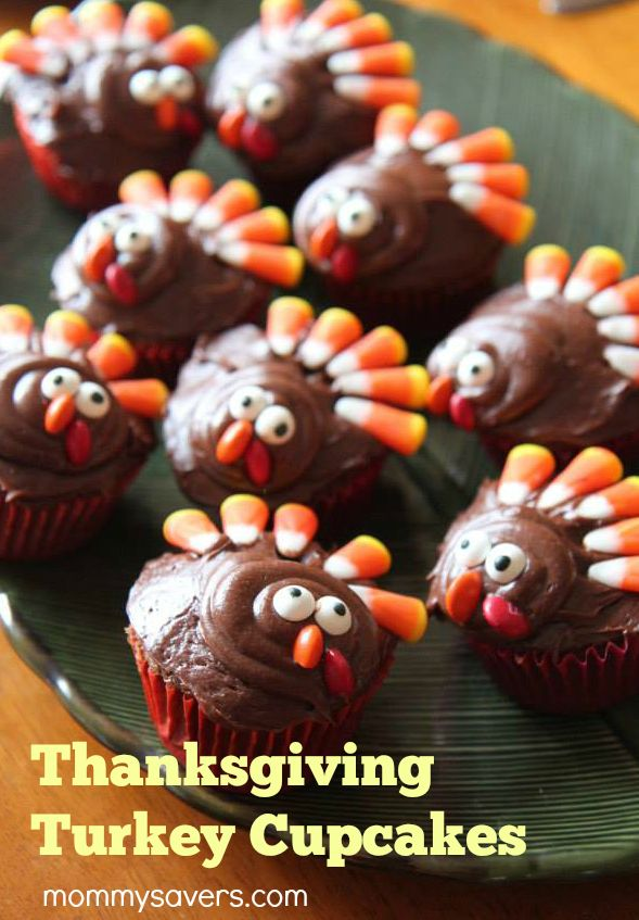 Thanksgiving Turkey Cupcakes 24 cupcakes Chocolate frosting Wilton Candy Eyeballs Candy corn Orange and red M&Ms Frost the cupcakes with chocolate frosting. Place five candy corn candies on the back of the cupcake for the turkey's feathers. Next, place a  (thanksgiving deserts for kids)