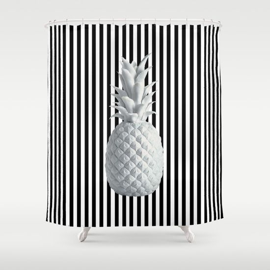 #wow #omg 25% OFF EVERYTHING TODAY!  #popart #funky #colorful #blackandwhite #kids #painting #funny #azima #colors #yoga #halloween #halloweencollection #pineapple #anana https://society6.com/product/black-and-white-anana-society6_shower-curtain#s6-7731470p34a35v287
