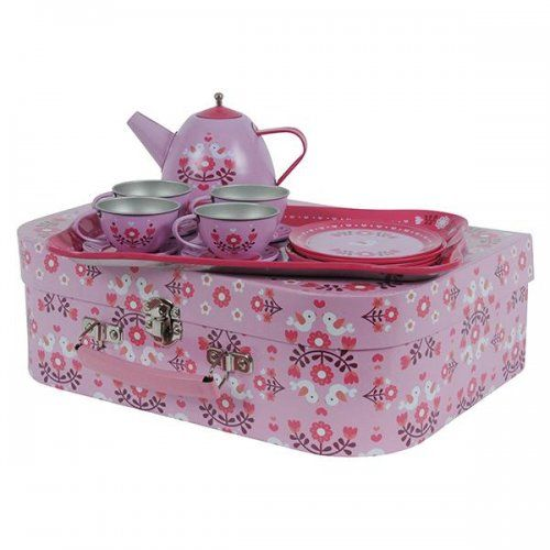 Beautiful Scandi design vintage tin tea set by Tiger Tribe is the perfect gift for any young hostess!   This 15 piece tea set will ensure the loveliest tea parties and best of all - no broken plates, it's tin!  #teaset #teaparty #retrotoys #kidstoys #kidsgifts #tigertribe #imagination #play #learn #create #designerkids #designerbaby #kidsrooms #kidsdecor #christmasgifts #littlebooteek