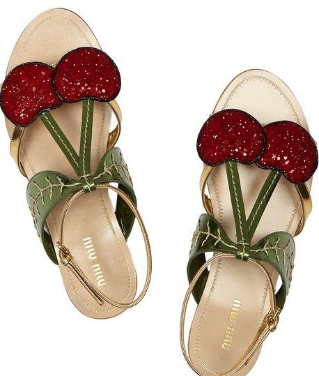 So cute!Shoes, Miumiu, Summer Sandals, Glitter Cherries, Cherries Sandals, Miu Miu, Flats Sandals, Metals Leather, Miu Cherries