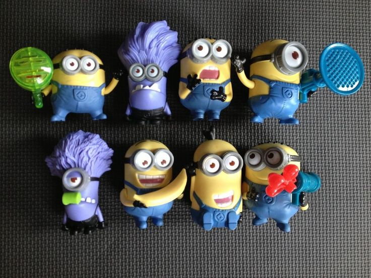 US $19.95 Used in Toys & Hobbies, Fast Food & Cereal Premiums, Fast Food (4 sold) COMPLETE SET OF 8 DESPICABLE ME 2 MINION FIGURES McDONALD'S TOYS.  All  figures are in used condition.  I have 4 complete sets of these, so you may not receive the exactly figures you see in the pictures.  All sets are in the same condition.  You may find small areas of paint wear, scuff marks and/or color marks.  Please be sure to view all pictures. COMPLETE SET OF 8 DESPICABLE ME 2 MINION FIGURES McDONALD'S…