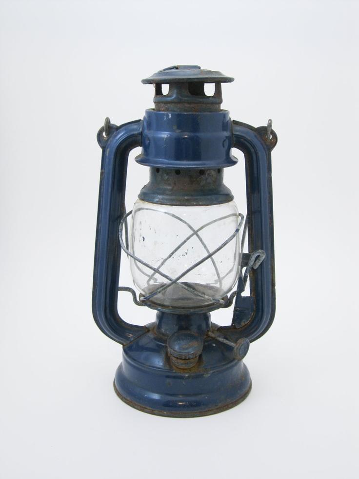 Great Blue antique oil lamp