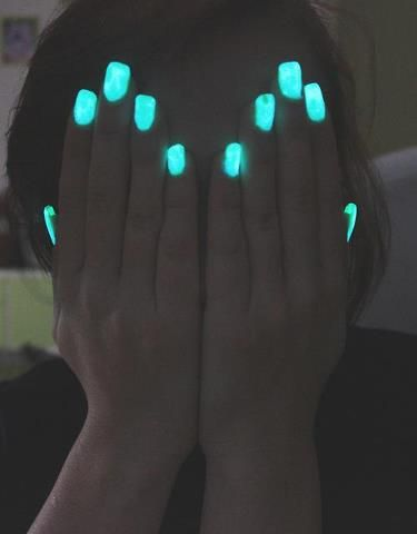 Glow in the dark nails... How to make it... Put on gloves!!!... Break a glow stick in clear nail polish... Mix and applie