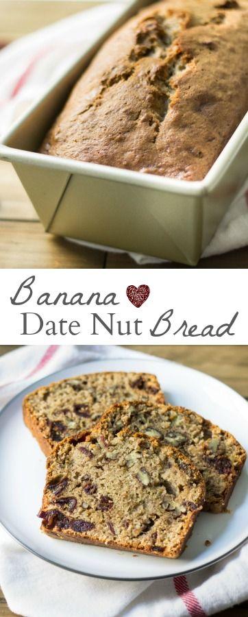 Famous banana bread recipe made with dates and walnuts. SUPER YUMMY! Recipe via MonPetitFour.com