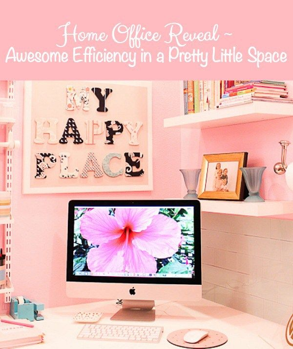 Home Office Reveal ~  Awesome Efficiency in a Pretty Little Space