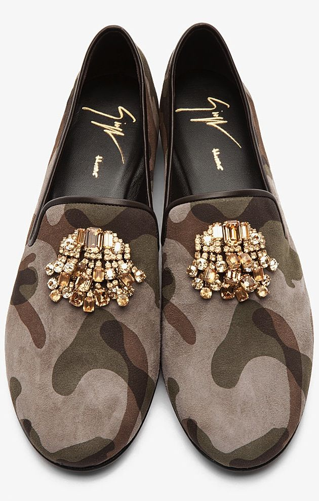 Giuseppe Zanotti Taupe Camo Gold Jeweled Kevin 10 Men's Loafers