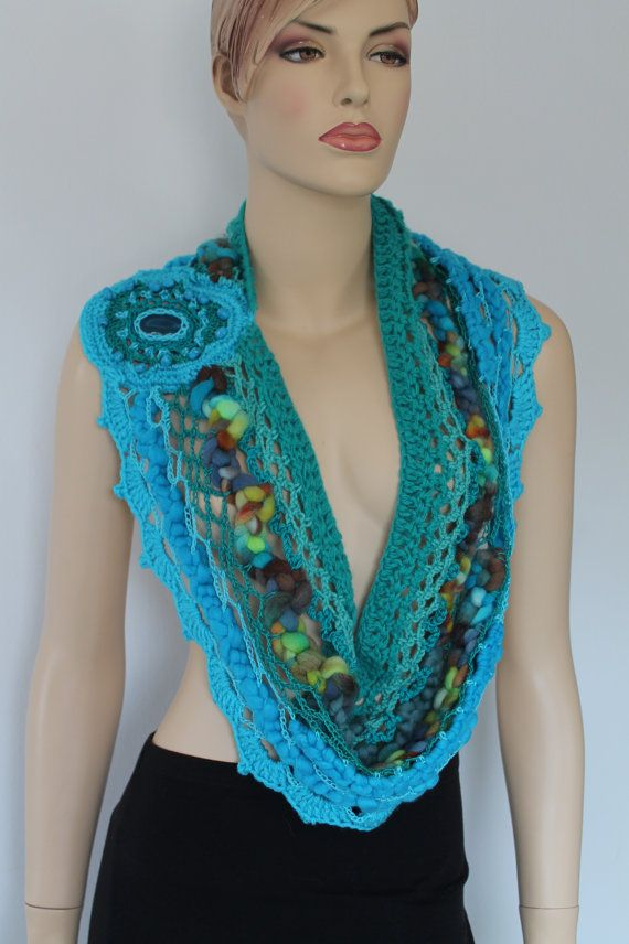 Emerald Turquoise Crochet Scarf with Agate Stone by levintovich, $95.00
