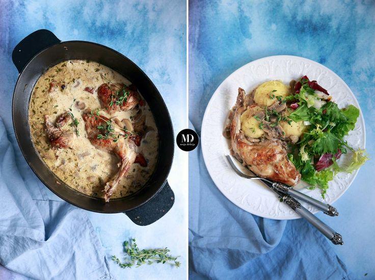 Królik duszony w sosie z pieczarkami // Rabbit with Mushroom Sauce braised in a good beer with chicken stock and herbs #food #foodporn #dinner #photography #blog #foodphoto #foodphotography