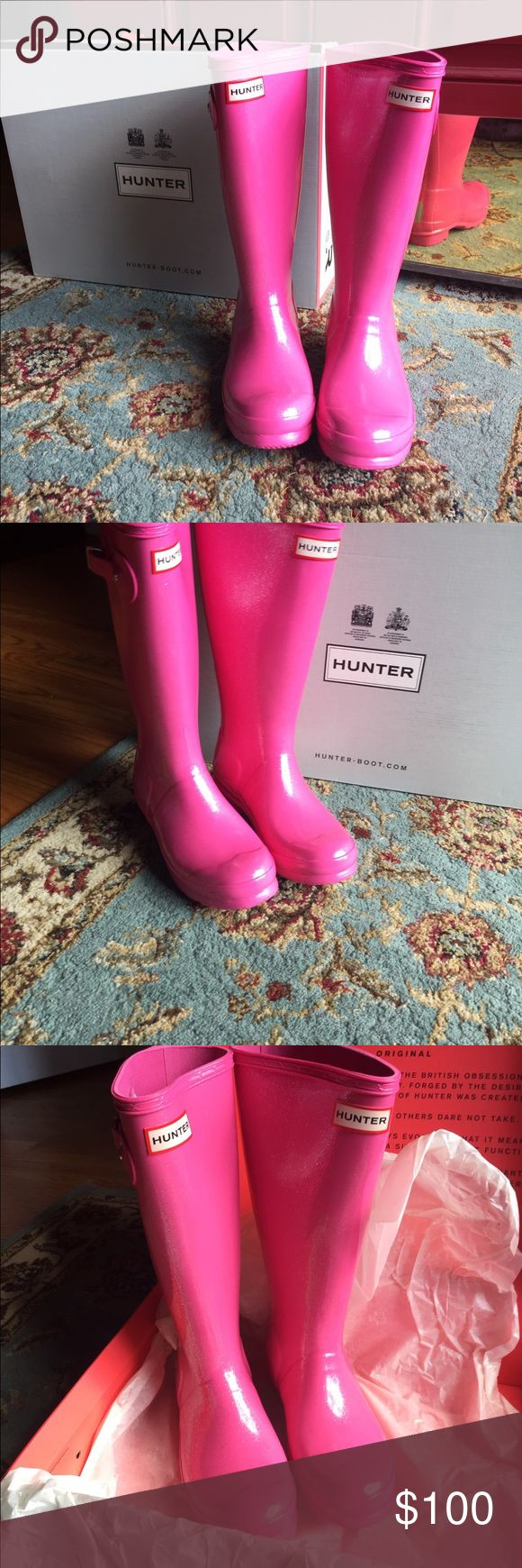 New Authentic Tall Hunter boots New with box beautiful pink glitter hunter boots.Fit women size 7.Price is firm. Hunter Shoes Winter & Rain Boots